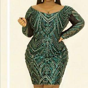 Brand new custom made emerald green dress